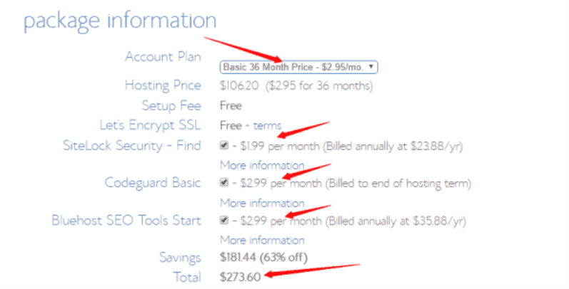 bluehost basic pricing plan
