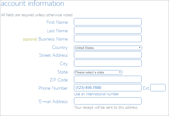 bluehost hosting form