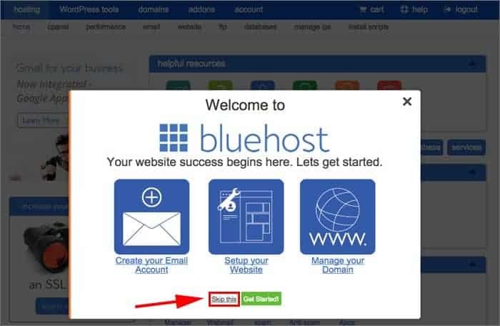 bluehost registration success