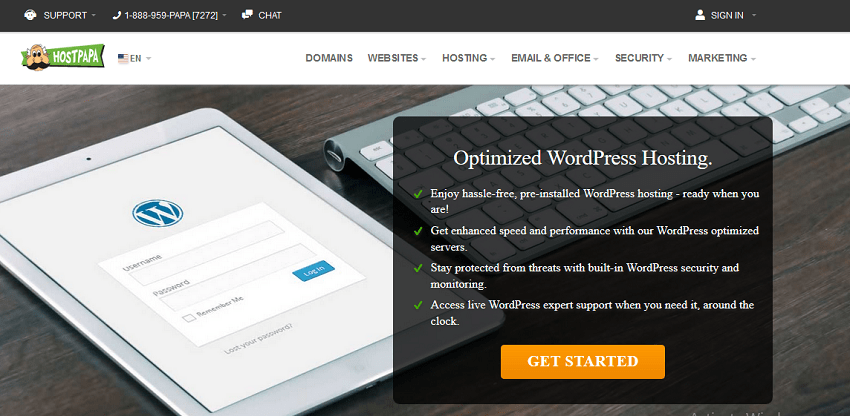 hostpapa premium hosting for wordpress
