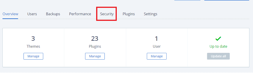 bluehost security tab