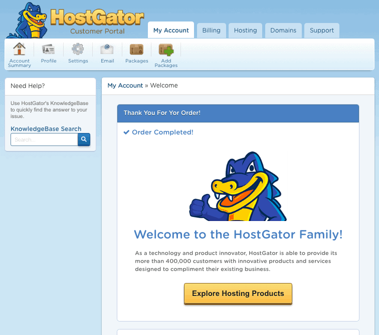 Welcome to Hostgator