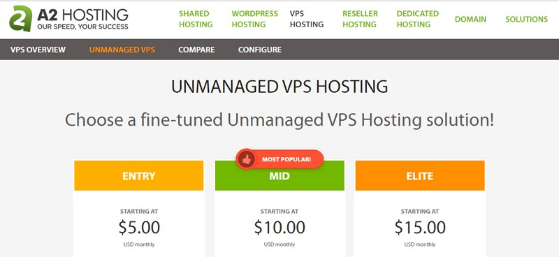 a2 hosting unmanaged vps