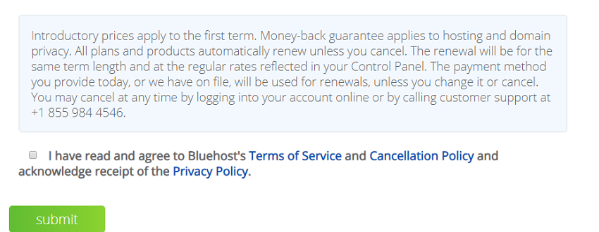 bluehost tos