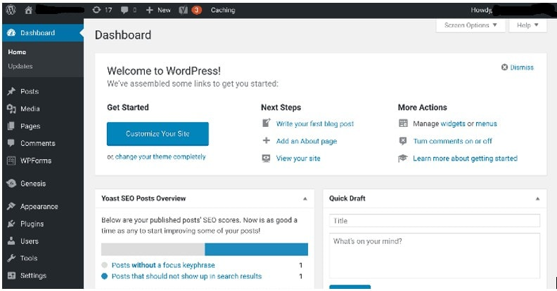 wp dashboard