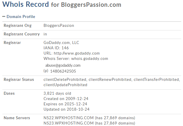 domaintools whois lookup results