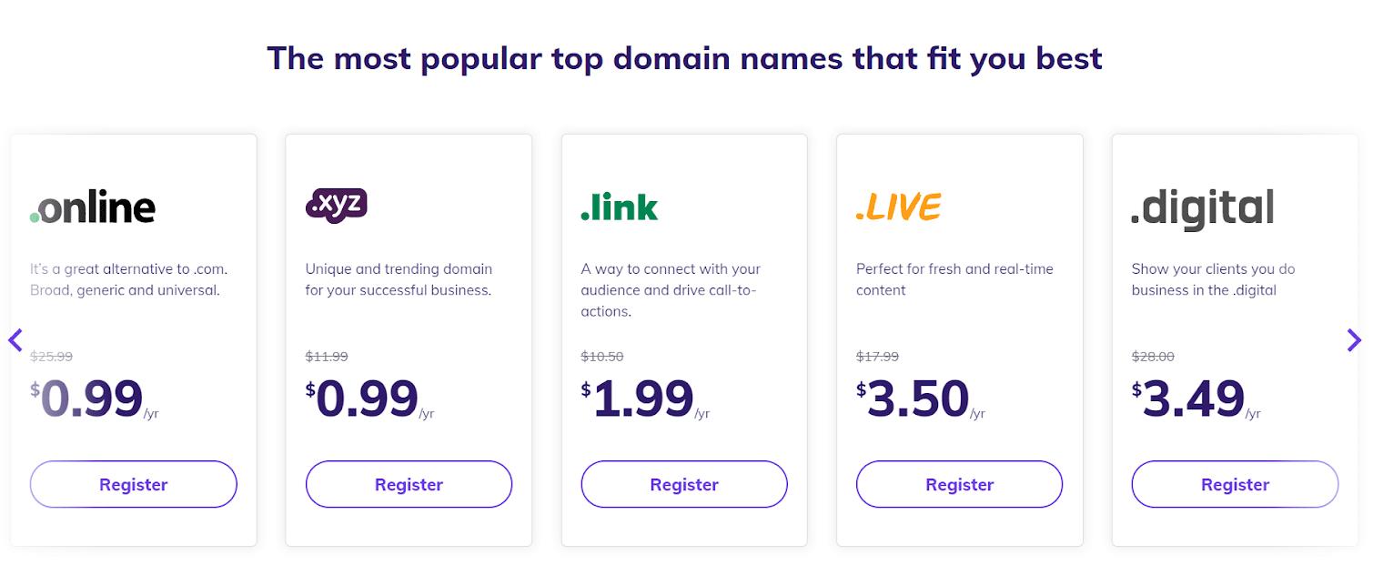 Hostinger Popular Domains
