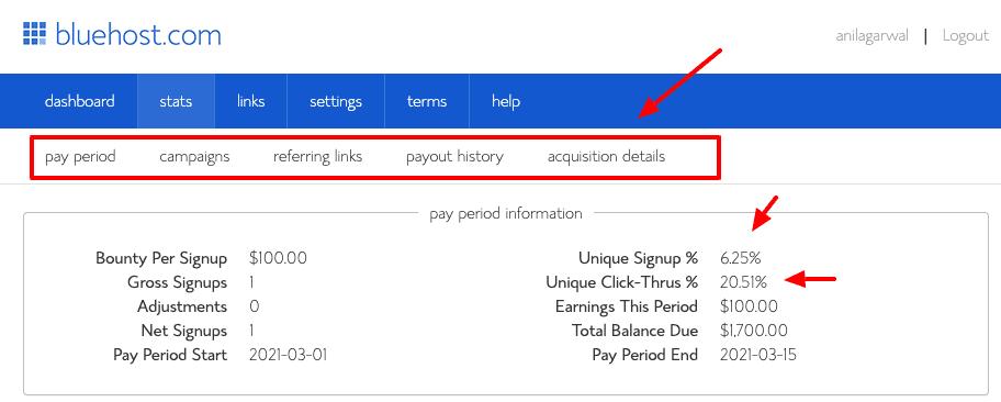 bluehost affiliate dashboard