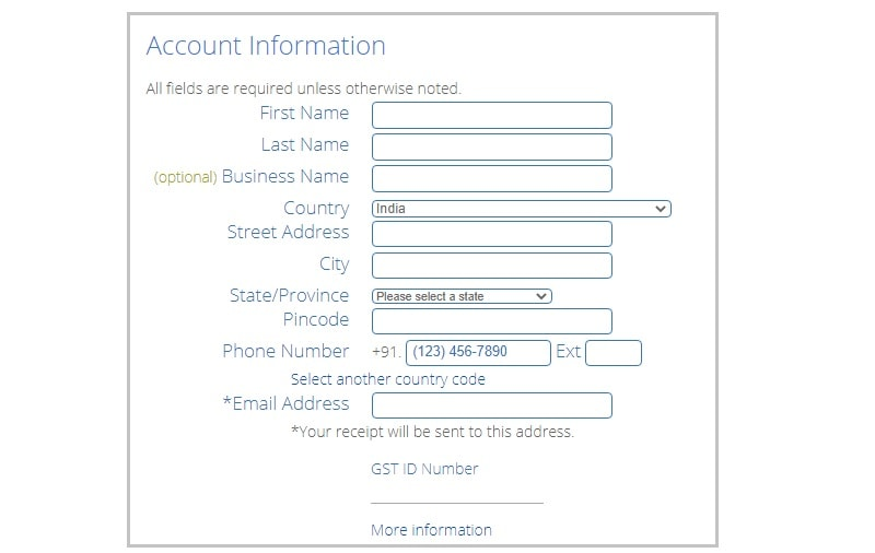 bluehost enter account information