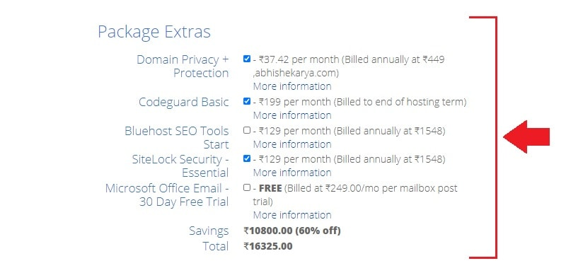 bluehost india package extras