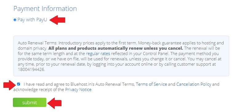 bluehost india payment information