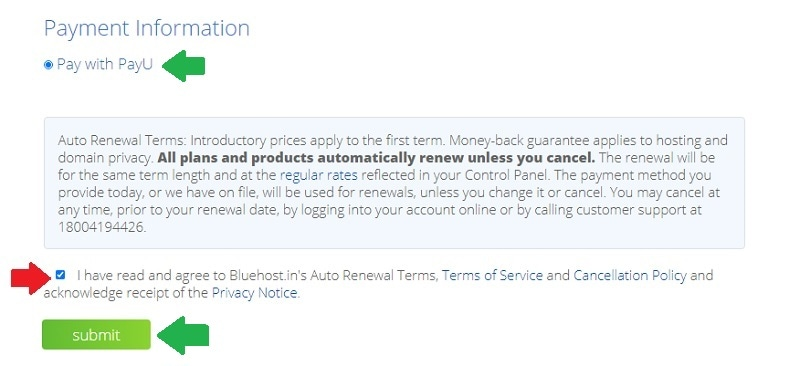 bluehost payment information