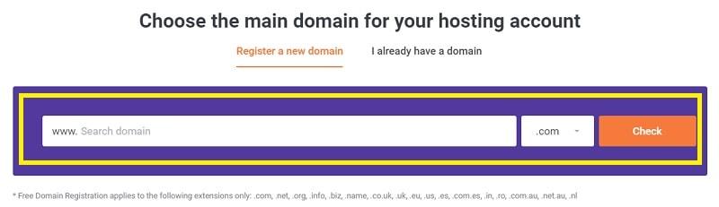 choose a domain on chemicloud
