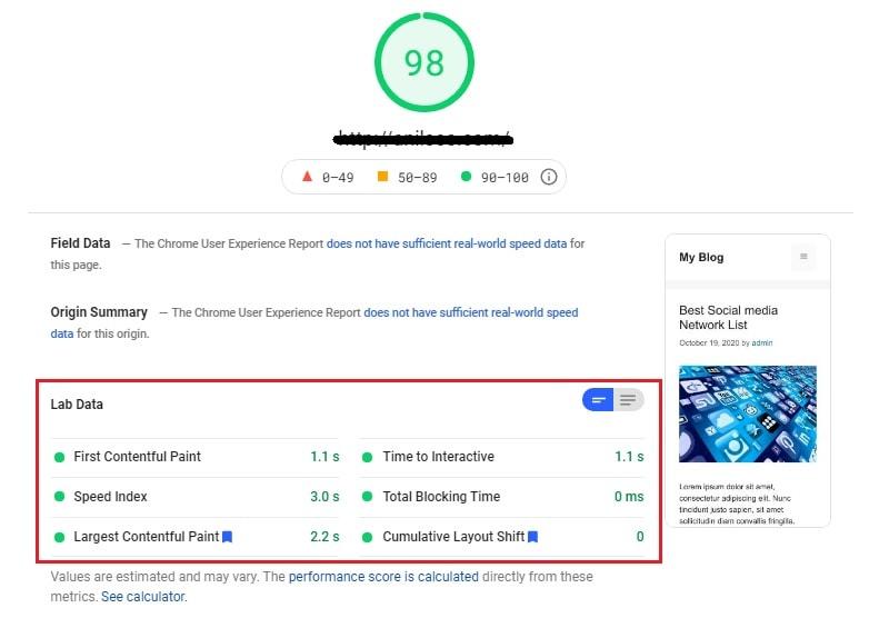 host4geeks google page speed insight test