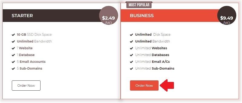 host4geeks select a hosting plans