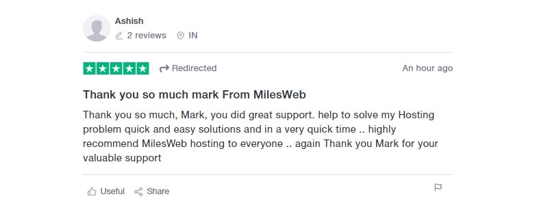 milesweb trustpilot user review