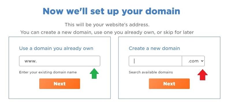 select domain on hostgator